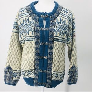 Dale of Norway Pure Wool Cardigan Sweater Patch